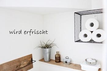 こちらもトイレットペーパーの収納。100円ショップの焼き網とバスケットなどを活用して壁面収納にしました。トイレの壁面に収納を作りたいという方におすすめのアイデアです。