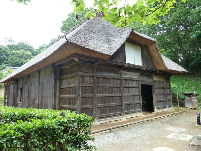 神奈川県指定重要文化財の菅原家住宅は、山形県鶴岡市松沢から移築され、豪雪地帯ならではの高い軒や、板壁で囲った外観に特徴的な間取りなど見所が多い古民家です。
