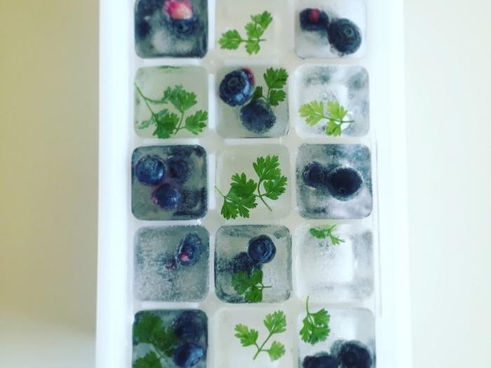 製氷機にブルーベリーやミントなどのハーブを入れるだけ。お水やソーダのグラスが一気に華やいで、ホームパーティーの演出にもぴったりですね。