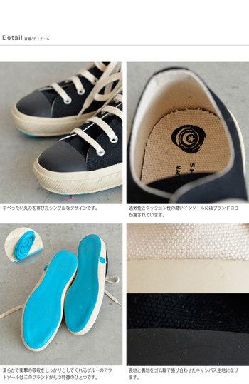 足型にフィットするような履き心地と、ゴムの配合もそれぞれの場所ごとに変えていて、長く使えるような工夫もされています。