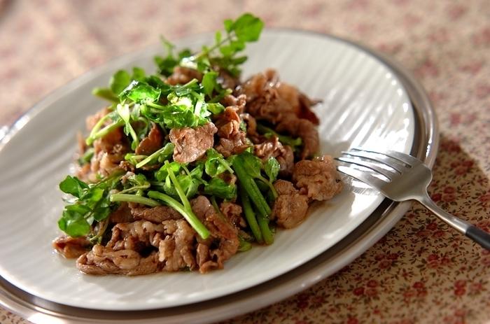 スタミナたっぷりな牛肉を使った中華炒めです。葉物に火が通りすぎないように注意してくださいね。クレソンをパクチーに変えても美味しく召し上がれますよ。