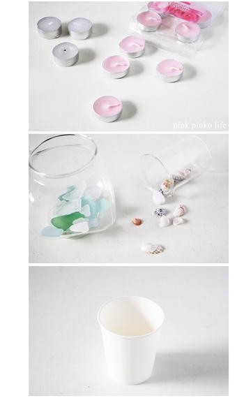 材料は、100円ショップで買えるキャンドルと飾りたいパーツ、紙コップ。