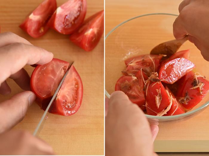 トマトサラダは、なんとなく和食の献立に合わなそうなイメージですが、かつお節と刻んだ生姜を加えて調味料と和えることでグッと風味と味わいが豊かに。もちろん、和えるだけなので簡単調理です。