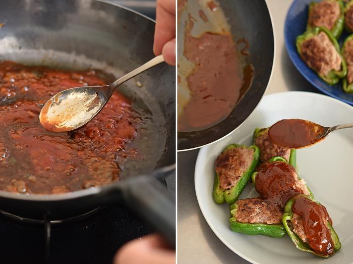 フライパンに残ったジューシーな肉汁を、そのまま使って特製ソースを作ります。調味料はケチャップと醤油とみりん。フライパンを洗うのも少しラクになって、思わず感動!