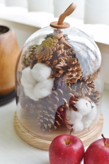 こちらはクリスマスシーズンのディスプレイだとか。まつぼっくりに雪をイメージした綿を合わせて、季節を感じさせてくれるインテリアですよね。