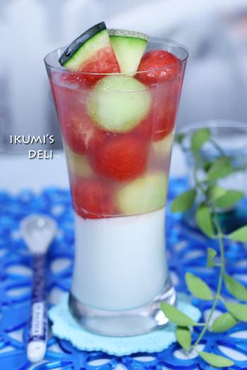 メロンとスイカがたっぷり入った贅沢なかんてんゼリー。ココナッツミルクのまろやかな甘さが、さっぱりした甘味をもつフルーツとよく合います。