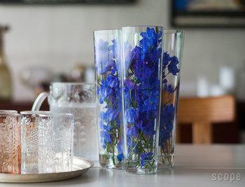 背の高いフラワーベースには、こんな風にお花をすっぽり入れて飾るのもオススメ。ガラスを通して花の色の鮮やかさが際立ち、涼しげな雰囲気になります。