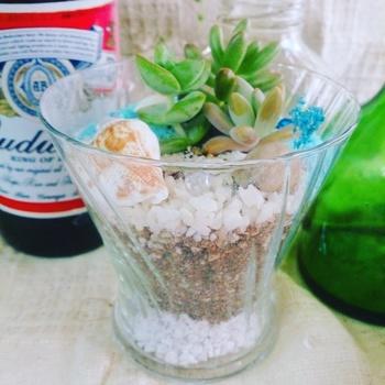 こちらはデザートグラスにカラーサンドなどの砂を入れ、貝殻や多肉植物を飾ったもの。グラスであれば、家にある人も多いのでは?