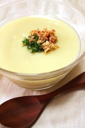 『じゃがいもの冷製スープ ~ヴィシソワーズ~』 アメリカで生まれたじゃがいもの冷製スープ・ヴィシソワーズも、暑い季節にはぴったり!じゃがいもの滑らかな舌触りが、クセになります。