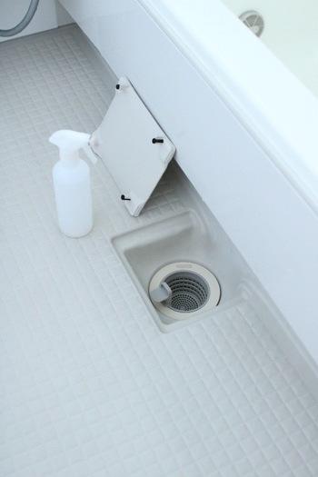 浴室の中でも雑菌が繁殖しやすい排水溝周りは、お掃除に加えて除菌&抗菌をしておくのも大事なポイントです。こちらのブロガーさんのお宅では、排水溝のフタとカゴの部分に殺菌・消臭効果で有名な「ドーバー パストリーゼ77」をスプレーしているそうです。