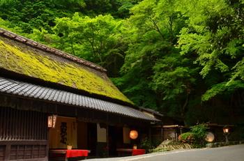「愛宕神社(あたごじんじゃ)」の鳥居のふもとすぐに軒を構える、『鮎司・平野屋』。 創業以来400年、「愛宕神社」を訪れる参拝客をもてなしてきました。 茅葺き(かやぶき)屋根に赤い緋毛氈(ひもうせん)と、心惹かれる佇まいです。