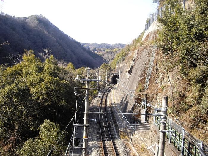 飯田線沿線にある田本駅は、南側は天竜川の渓谷、北側は断崖絶壁というまさに秘境中の秘境に位置する無人駅です。田本駅全景を眺めるとは、北側にある断崖を固定している擁壁に駅がへばりついているように見えます。