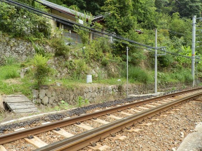 人里離れた為栗駅周辺で見かける民家はごくわずかです。為栗駅を挟んで天竜川と反対方向の山間に民家がありますが、線路を渡る踏切はありません。為栗駅では、この地に駅が造られた1936年から時間が止まったままのような気分を覚えます。