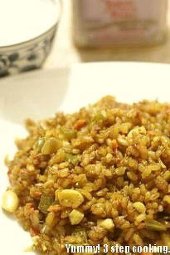 こちらは、カシューナッツの入ったスパイシーな野菜ビリヤニ。インド料理が苦手な方でも食べられるフルーティーでクセのないおです。