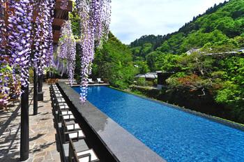 修善寺のさらに海寄りにある温泉地、吉奈温泉。その中でも、古い良さと新しい斬新さを融合させた高級旅館・東府やが営むベーカリーカフェです。こちらの最大の特徴は、美しい藤棚の下に足湯があること。何と、足湯をしながら、おいしいパンが食べられるのです。藤の時期にも、ぜひ訪れてみたいですね。