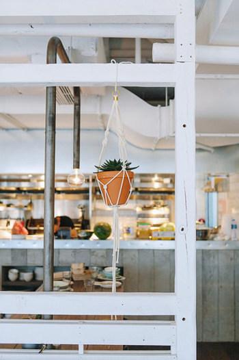 麻ひもや毛糸、ロープなどで編んだものをはじめ、植物を入れて吊るすものをプラントハンガーといいます。天井や壁から吊して飾ることで、小さなスペースでも植物のある空間が演出できます。