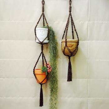 2つ鉢を飾ることのできる2連タイプ。これなら植物をたくさんお部屋に招いても心配ないですね。