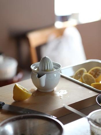 シロップのアレンジに可愛いジューサーがあると、いろいろな果汁をプラスしてみたくなります。アクセントにレモン果汁を入れてあげると味に奥行きがでます。