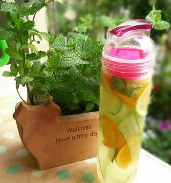 きゅうりとレモン、オレンジ、さらにミントの葉を、6時間ほどミネラルウォーターに浸します。それぞれの味が馴染んで、爽やかに飲み干せる夏のヘルシーウォーターに。