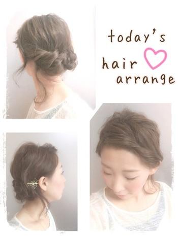 後ろの髪をツイスト編みして、毛先を丸めて固定したまとめ髪アレンジです。 前髪がある場合は、サイドにねじっておでこを出すとすっきりとした印象に。