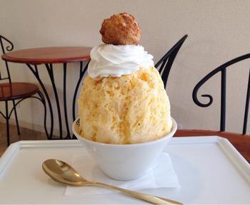 てっぺんにシュークリームがトッピングされた「バニラカスタード」。クリームがプリンのように濃厚で、さすが洋菓子の人気店と感動すること間違いなし。  濃厚でも意外とあっさりいただけるので、大きくてもぺろりと食べきってしまえそうです。