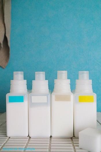洗剤や柔軟剤も容器を詰め替えてしまえば、見た目がこんなにすっきり。