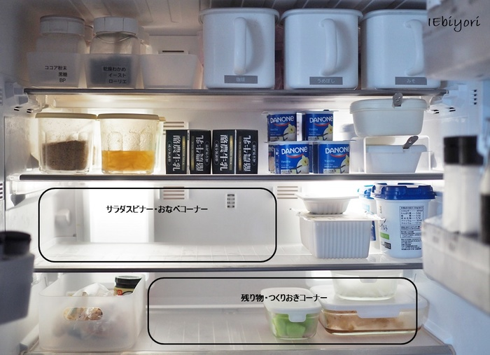 まずは常備している食品・食材・調味料などの定位置を決めて、使用頻度の高いものを一番取りやすい位置におきましょう。すぐに食べるものや、残り物のお鍋などを入れられるように、中央スペースは余裕を残しておくのがポイントです。