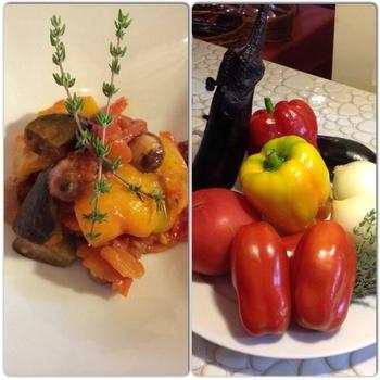 みずみずしい夏野菜の美味しさを凝縮させた、魅惑のカポナータは、野菜本来の優しい甘さでとっても美味しいんです。