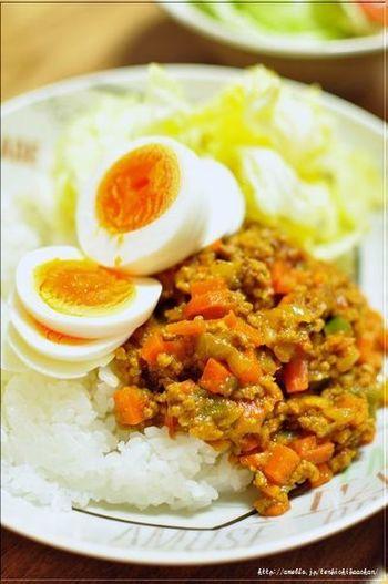 ひき肉と野菜をみじん切りにしてつくる定番のドライカレー。カレーパウダー、塩、しょう油のみのシンプルな味付けで、野菜の甘みが引き立ちます。