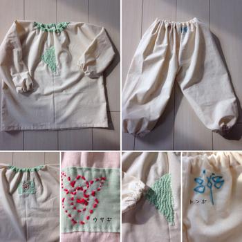 ゆったりとラクチンなスモックパジャマ。うさぎやトンボなどの心のこもった手刺繍に、子供への愛情が感じられます。