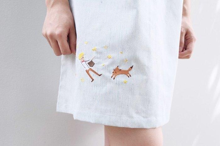 オーバーサイズのワンピースには、こんなにキュート刺繍が! 大人も着られる、さりげない可愛さ。