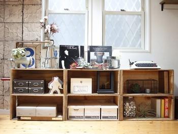 DIYで本棚にもボックスにも!りんご箱やすのこを使った簡単おしゃれ収納