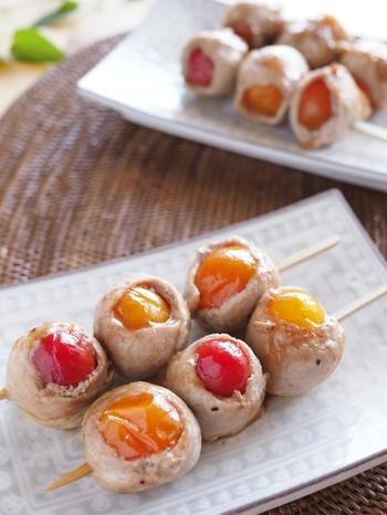 「ミニトマト」だって豚肉で巻けるんです。加熱するとうまみが増すトマト。そこに豚肉のジューシーさもプラスされます。彩りもよく、パーティなどの持ち寄り料理にも使えそうですね。