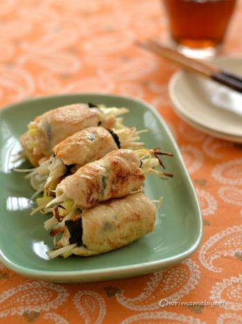 お酒だけでなく、白ご飯とも相性ぴったりの鶏ささみ巻き。ねぎを挟んでいますが、えのきや人参などを代用してもよさそう。お弁当のおかずとしても活用できますね♪
