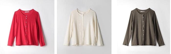 定番アイテム「フォルティリネンベア天竺長袖カーディガン」は、柔らかな風合いと適度な伸縮性が魅力。12色展開だから、夏から秋口にかけての体温調節に、色違いで揃えては。