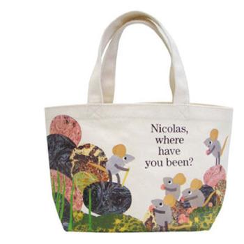 「ニコラスどこにいってたの?」のバッグ。ランチボックスにぴったり!