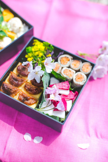和食を中心としたお弁当です。花や春らしい彩りが華やかさを演出してくれます。おいしい日本酒と一緒にのんびりと食べたくなるお弁当です。