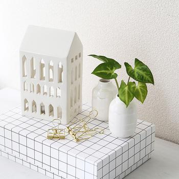 白のフラワーベースは、グリーンを爽やかに美しく見せてくれます。グリーンが引き立つよう、雑貨などそれ以外のアイテムを白で統一するのもいいですね。