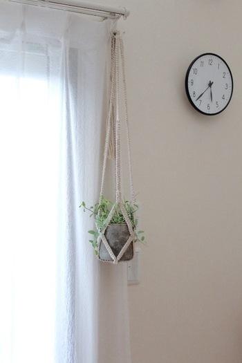 ロープや麻紐などで編んで、植物を吊るして飾る『プラントハンガー』。お店でも購入できますが、自分で作ることもできます。天然素材の紐で編むと夏らしい季節感のある仕上がりに。吊るすだけなので、狭いお部屋でもグリーンのある爽やかな空間を演出することができます。