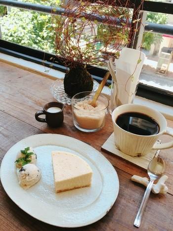 街並みが窓から眺められる窓際のカウンター席で、ぼーっとするのがおすすめ。 コーヒーは、神戸の珈琲焙煎所「ライブコーヒー」に注文するオリジナルブレンドで、深煎りの珈琲がスイーツによく合うのです。「ベイクドチーズケーキ」もこちらの看板メニューです。