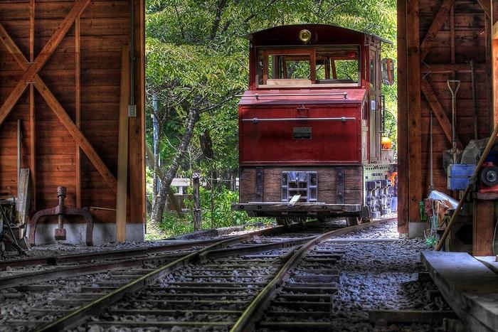 村の面積のうち、約96%が山林で占められている馬路村では、林業が盛んに行なわれています。森林鉄道は、明治40年から昭和38年までの間、木材、製品などの輸送に欠かせなかった森林交通の大動脈を復元したもので、観光列車として乗車することもできます。