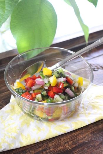 パプリカや紫たまねぎを使って、カラフルな「だし」はいかがですか♪サラダにも似た爽やかな色合いが食欲をそそります。