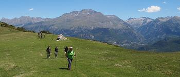 山でのノルディックウォーキングは、アップダウンが運動効果を高めてくれます。不整地を歩くことで体幹やバランス力も向上。