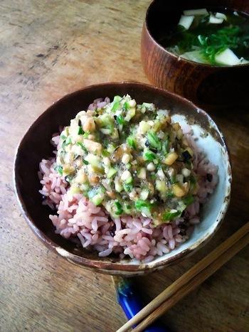 「だし」とは、なす、きゅうり、ミョウガ、大葉などを細かく刻んで、醤油とかつお節で味つけした山形県の郷土料理です。簡単に美味しく、たっぷりの野菜がとれる「だし」は、食欲が落ちやすい夏にもぴったりの一品です。