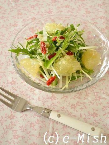 定番の大根×水菜のサラダに酸味のあるグレープフルーツを加えて。スーパーフードのキヌアが水分を吸収してくれるのでサラダはシャキシャキです。