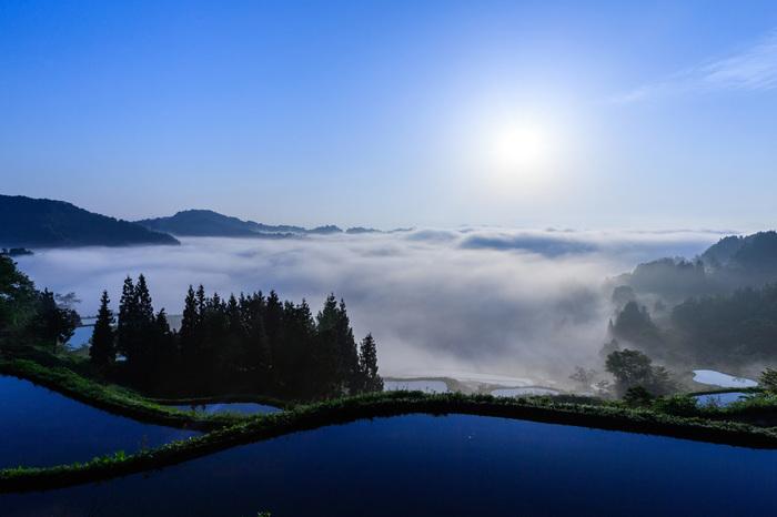 明けた後の水面のどこまでも深い青の光景もたまらなく神秘的で吸い込まれそう。