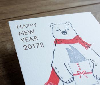 年賀状も活版印刷で。「HAPPY NEW YEAR」だけでも素敵ですが、可愛いイラストがあると貰った方もほっこりしますよね。
