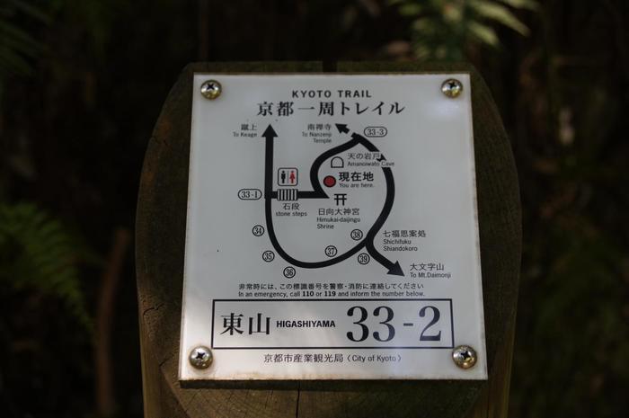 京都一周トレイルでは、日向大神宮の入口で分かれています。どちらを選んでも大文字山へ至ることができますが、今記事では北側のコースを選んでいます。