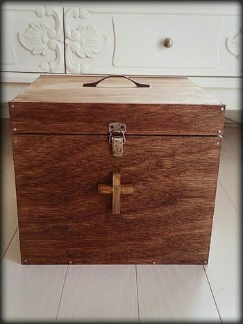 救急箱や裁縫箱などにとっても便利なこちらのべニヤ箱。