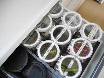 お茶の葉やティーバッグにも。小さな軽量スプーンを入れておくとさらに便利です!